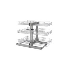 Rev-A-Shelf 5PSP3-18SC-CR 18 in Three-Tier Blind Corner Organizer Soft -Close - Chrome