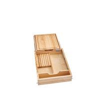 Rev-A-Shelf 4KCB-419FLSC-1 16.5 in Knife and Cutting Board Drawer Kit w/Soft-Close Slides - Natural