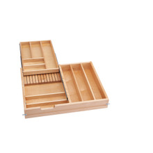 Rev-A-Shelf 4WTCD-30SC-1 27 in 2-Tiered Wood Cutlery Drawer system w/Soft-Close Slides - Natural