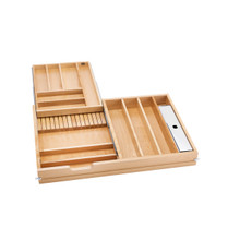 Rev-A-Shelf 4WTCD-876FLSC-1 34.5 in Frameless Tiered Cutlery Drawer w/Soft-Close Slides - Natural