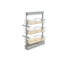 Rev-A-Shelf 5225-09-MP 9 in Short Pullout Maple Pantry w/Soft-Close - Chrome
