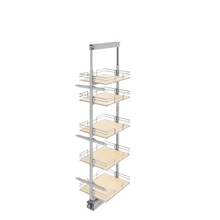 Rev-A-Shelf 5258-14-MP 14 in Tall Pullout Maple Pantry w/Soft-Close - Chrome