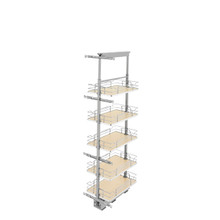 Rev-A-Shelf 5350-13-MP 13 in Chrome Solid Bottom Pantry Pullout Soft Close - Natural