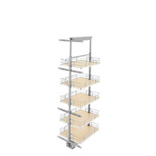 Rev-A-Shelf 5358-16-MP 16 in Chrome Solid Bottom Pantry Pullout Soft Close - Natural