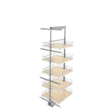 Rev-A-Shelf 5358-19-MP 19 in Chrome Solid Bottom Pantry Pullout Soft Close - Natural