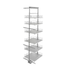 Rev-A-Shelf 5373-19-GR 19 in Chrome Solid Bottom Pantry Pullout Soft Close - Gray