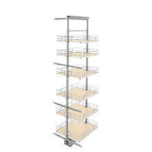 Rev-A-Shelf 5373-19-MP 19 in Chrome Solid Bottom Pantry Pullout Soft Close - Natural