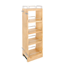 Rev-A-Shelf 448-BBSCWC36-8C 8 in x 36 in H Wood Pull Out Wall Organizer w/Soft Close - Natural