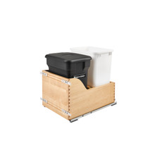Rev-A-Shelf 4WCSC-1835CKBK-2 35 Qrt Pull-Out Waste Container w/ Black Compost bin - Natural