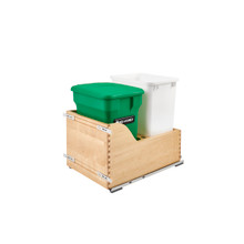Rev-A-Shelf 4WCSC-1835CKGR-2 35 Qrt Pull-Out Waste Container w/ Green Compost bin - Natural