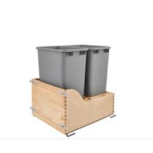 Rev-A-Shelf 4WCSC-2150DM-2 Double 50 Qrt Bottom mount Waste Container - Natural