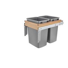 """Rev-A-Shelf 4WCTM-18BBSCDM2 Double 35 Qrt Top mount Waste Container w/Soft-Close (1-1/2"""" faceframe) - Natural"""