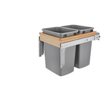 """Rev-A-Shelf 4WCTM-18INDM-2 Double 35 Qrt Top mount Waste Container (1-1/2"""" faceframe) - Natural"""