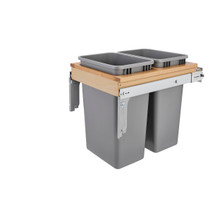 """Rev-A-Shelf 4WCTM-2150BBSCDM-2 Double 50 Qrt Top mount Waste Container w/Soft-Close (1-1/2"""" faceframe) - Natural"""