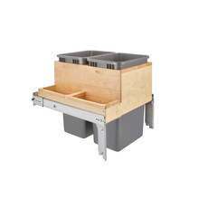 """Rev-A-Shelf 4WCTM-2450BBSCDM-2 21in Double 50 Qrt Top mount Waste Container w/ Side Storage (1-1/2"""" faceframe) - Natural"""