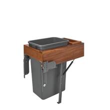 Rev-A-Shelf 4WCTM-WNRM-1850DM-1 50 Qrt Top mount Waste Container w/Rev-A-Motion - Walnut