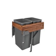 Rev-A-Shelf 4WCTM-WNRM-2150DM-2 Double 50 Qrt Top mount Waste Container w/Rev-A-Motion - Walnut