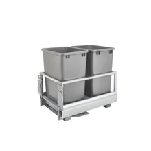 Rev-A-Shelf 5149-18DM-217 Double 35 Qrt Pull-Out Waste Container w/Rev-A-Motion - Silver