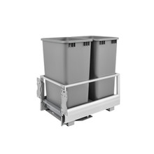 Rev-A-Shelf 5149-2150DM-217 Double 50 Qrt Pull-Out Waste Container w/Rev-A-Motion - Silver