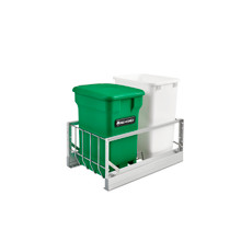 Rev-A-Shelf 5349-18CKGR-2 Aluminum 35 Qrt Waste Container Pull-Out w/Green Compost bin - Green
