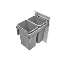 Rev-A-Shelf 53TM-1850GSCDM2-FL Double 50 Qrt Steel Top mount Waste Container - Gray