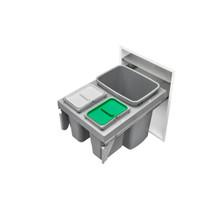 Rev-A-Shelf 53TM-18GSCDM3-FL Single 35/Double 8 Qrt Steel Top mount Waste Container - Metallic Silver