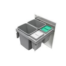 Rev-A-Shelf 53TM-24GSCDM4-FL Double 35/8 Qrt Steel Top mount Waste Container - Metallic Silver