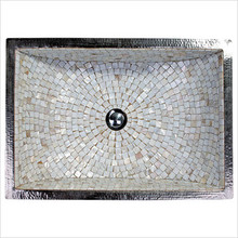 "Linkasink V016 SN Rectangular Crescent Mosaic Drop In or Undermount Sink 21"" X 14"" X 6"" Od - Satin Nickel"