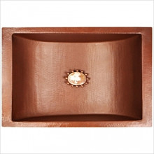 "Linkasink C052 SN Copper Rectangular Crescent Undermount Lavatory Sink 21"" X 14"" X 6"" OD - Satin Nickel"
