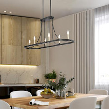 Vanity Art Farmhouse 6-Light Black/Brass Dust Kitchen Island Linear Pendant Chandelier