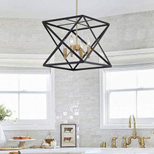 Vanity Art Farmhouse Vintage 4 Light Lantern Black/Brass Dust Geometric Pendant