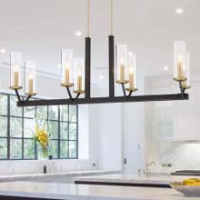 Vanity Art Modern Chic 8-Light Linear Chandelier, Black & Brass Dust