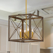 Vanity Art Farmhouse 4-Light Vintage Walnut Gold Cage Pendant Chandelier