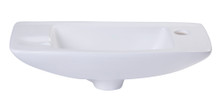 ALFI AB103 Small White Wall Mounted Porcelain Bathroom Sink Basin
