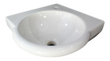"ALFI AB104 White 15"" Round Corner Wall Mounted Porcelain Bathroom Sink"