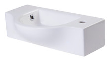 ALFI AB105 Small White Wall Mounted Ceramic Bathroom Sink Basin