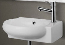 ALFI AB107 Small White Wall Mounted Ceramic Bathroom Sink Basin