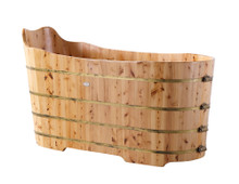 "ALFI AB1103 59"" Free Standing Cedar Wood Bathtub with Bench"