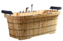 "ALFI AB1130 65"" 2 Person Free Standing Cedar Wooden Bathtub with Fixtures & Headrests"