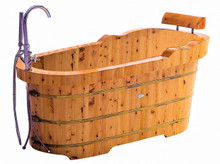 "ALFI AB1139 61"" Free Standing Cedar Wooden Bathtub with Fixtures & Headrest"