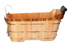 "ALFI AB1148 59"" Free Standing Wooden Bathtub with Chrome Tub Filler"
