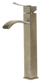 ALFI AB1158-BN Tall Brushed Nickel Tall Square Body Curved Spout Single Lever Bathroom Faucet