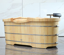 "ALFI AB1163 61"" Free Standing Wooden Bathtub with Cushion Headrest"