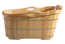 "ALFI AB1187 57"" Free Standing Rubber Wooden Soaking Bathtub with Headrest"