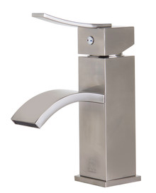 ALFI AB1258-BN Brushed Nickel Square Body Curved Spout Single Lever Bathroom Faucet