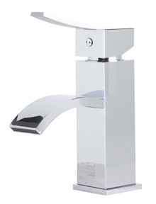 ALFI AB1258-PC Polished Chrome Square Body Curved Spout Single Lever Bathroom Faucet