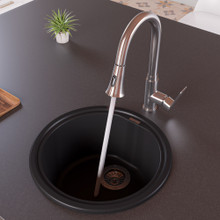 "ALFI AB1717DI-BLA Black 17"" Drop-In Round Granite Composite Kitchen Prep Sink"