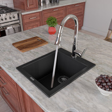 "ALFI AB1720DI-BLA Black 17"" Drop-In Rectangular Granite Composite Kitchen Prep Sink"