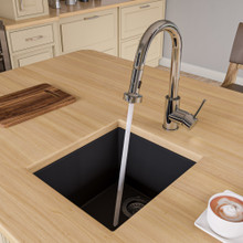 "ALFI AB1720UM-BLA Black 17"" Undermount Rectangular Granite Composite Kitchen Prep Sink"