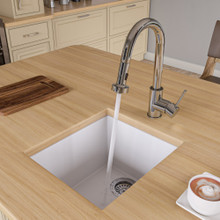 "ALFI AB1720UM-W White 17"" Undermount Rectangular Granite Composite Kitchen Prep Sink"